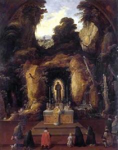Berglandschap met een altaar en pelgrims