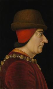 En profil portret van Louis XI, Koning van Frankrijk (1423-1483) het ridderordeteken van de Franse ridderorde ter ere van Sint-Michiel dragend