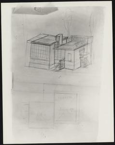Schets met plattegrond en perspectief van een atelierwoning