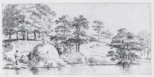 Landschap met bomen en twee figuren bij het water