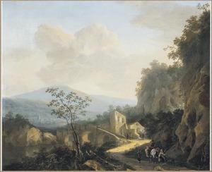 Zuidelijk berglandschap met reizigers nabij een brug naast een ruïne