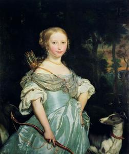 Portrait historié van een jonge vrouw als Diana