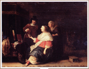 Interieur met een man die een vrouw een hanger aanbiedt