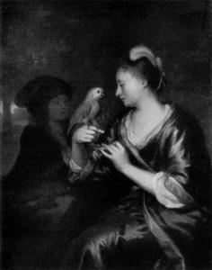 Jonge vrouw, een papegaai voerend
