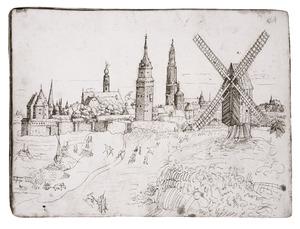 Antwerpen met van links naar rechts de Schelde, de laatmiddeleeuwse stadsmuur, de Sint-Michielsabdij, de toren van de Kronenburgpoort en de Onze-Lieve-Vrouwekathedraal