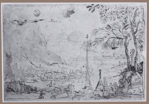 Bergachtig rivierlandschap met haven en Daedalus en Icarus