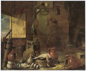 Boerderij-interieur met aardewerk, een dode eend en groente