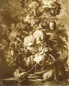 Bloemstilleven in een vaas, versierd met putti, op een marmeren balustrade