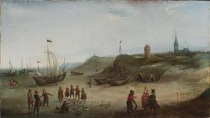 Gezicht op het strand bij Zandvoort met het vuurbaken en de kerk