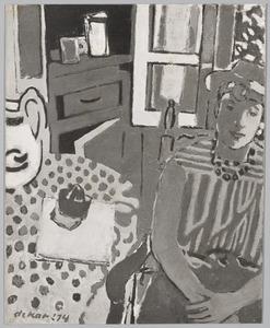 Vrouw in interieur met stoel en tafel