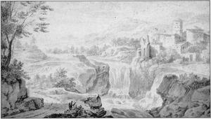 Berglandschap met bebouwing bij watervallen