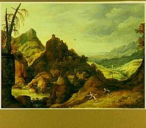 Woest berglandschap met Apollo en Daphne