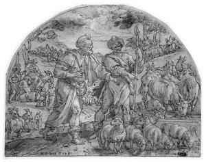 Jacob en Laban bij hun kudde, sprekend over de verdeling (Genesis 30:25-43)