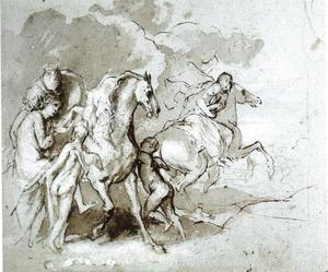 Castor en Pollux schaken de dochters van Leucippus (Fasti 5:699 e.v.; Theocritus 20; Hyginus 80)