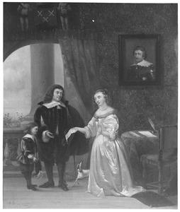 Portret van Pieter de Groot (1615-1678), Agatha van Rhijn (1627-1673) en een jongen, waarschijnlijk Hugo Pietersz. de Groot (1656-1705)