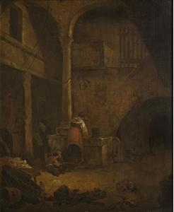 Interieur van een boerenhuis met een vrouw bij een put