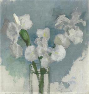 White irises against a light blue background I