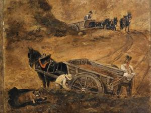 Studie van paarden en figuren