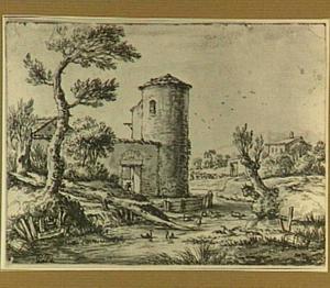 Rivierlandschap met fortificaties