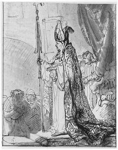 De acteur Willem Bartelomeusz. Ruyters als bisschop Gosewijn van Utrecht, uit Vondels' Gijsbreght van Amstel (akte IV)