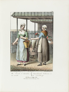 Een Amsterdamse vissersvrouw en dienstmeisje