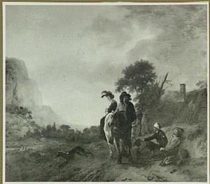 Een bedelaar vraagt een aalmoes aan passerende ruiters; op de achtergrond een boerderij, in de verte bergen