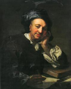 Portret van de schilder Johann Gottfried Auerbach (1687-1743)