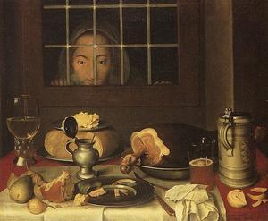 Ontbijttafel met keukenmeid achter het raam