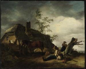 Landschap met rustende reiziger bij een boerderij