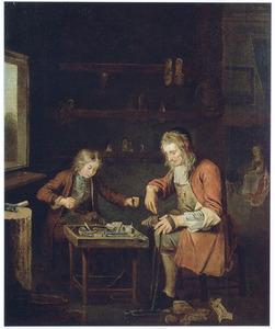 Een schoenmaker met zijn leerling aan het werk