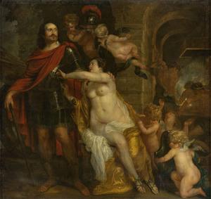 Allegorie op de vrede: Friedrich Wilhelm, keurvorst van Brandenburg (1620-1688) als Mars ontvangt de wapenen van Venus en Vulcanus