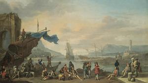 Zuidelijke haven met figuren op de kade in de voorgrond