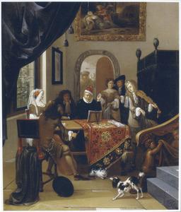 Musicerend en zingend ezelschap in een interieur