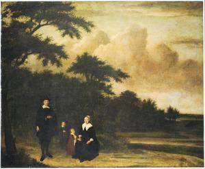 Portret van een echtpaar met twee kinderen in een landschap