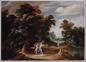 Boslandschap met Daphne achtervolgd door Apollo