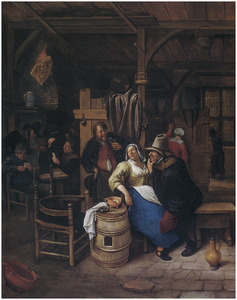 Twee mannen en een vrouw drinkend en lachend in een herberg; links in de achtergrond kaartspelers