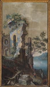 Klassieke ruïne met doorkijk op stad in de achtergrond