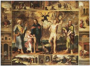 De HH Petrus, Rochus, Sebastiaan en Paulus omringd door acht voorstellingen uit het leven van de H. Rochus