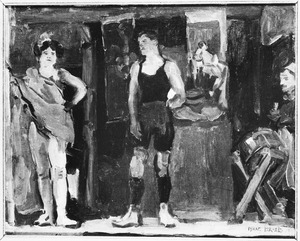 Circusartiesten bij een kraam