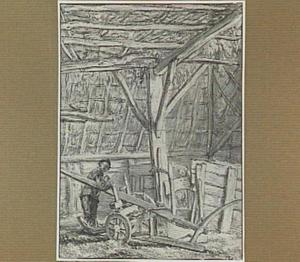 Boer met ploeg in een schuur