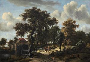 Landschap met ruiters bij een watermolen
