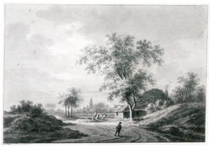 Duinlandschap met herberg aan landweg