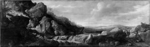 Rotsachtig landschap met valkenjagers (Allegorie op de jacht)