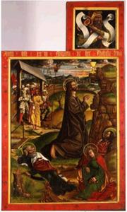 Twee luiken met de beproeving in de tuin (onder); Een profeet (boven) (binnenzijde linkerluik); De geseling van Christus (onder); Een profeet (boven) (binnenzijde rechterluik); De engel Gabriël (buitenzijde linkerluik); Maria tijdens de annunciatie (buitenzijde rechterluik)