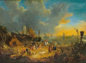 Strandgezicht bij zonsopgang met visverkoop, schepen op de achtergrond