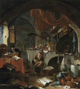 Alchemist in zijn laboratorium met een assistent