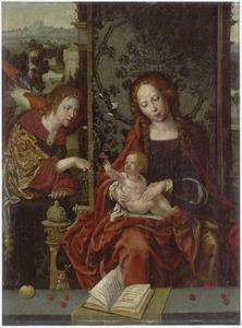 Maria met kind voor een landschap met de aartsengel Gabriël die een lelie aanbiedt