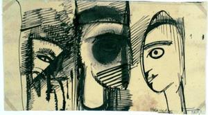 """Voorstudie voor  Maskers of """"Wantrouwen"""""""