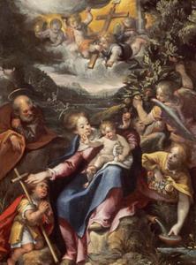 De Heilige Familie met Johannes de Doper als kind en engelen in een landschap