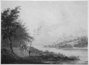 Heuvellandschap met paard en wagen